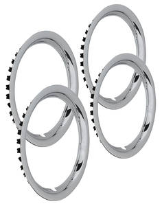 "1964-73 Tempest Wheel Trim Rings, Reproduction Rally (Stainless) Round Lip 15"" X 6"" (1-1/2"" Deep)"