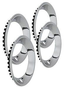"1964-1973 GTO Wheel Trim Rings, Reproduction Rally (Stainless) Stepped Lip 15"" X 7"" (2-3/8"" Deep)"
