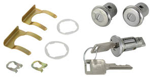 1966-67 Cadillac Lock Set: Ignition & Door - Short Cylinders (Square Head Keys)