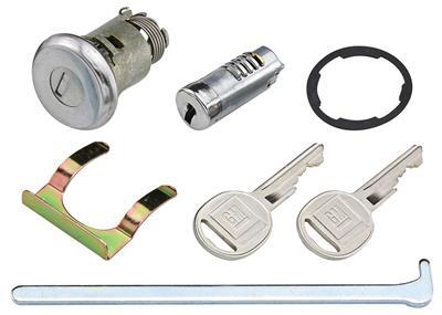 1967-1967 Chevelle Lock Set; Glove Box & Trunk (Matched Keys) Without Case Round Keys