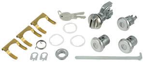 1970-77 Monte Carlo Lock Set; Glove Box, Trunk & Door with Round Head Keys & Case