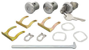 1965 Lock Set: Door & Trunk Bonneville/Catalina, Pearhead Keys