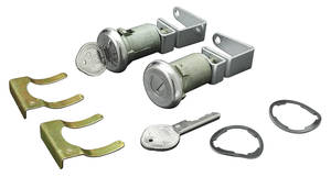 1961-1964 Bonneville Door Lock & Keys Short Cylinders Pearhead Keys, w/Flat Pawls