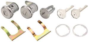 1961-64 Bonneville Lock Set: Ignition & Door Octagon Keys, w/Flat Pawl
