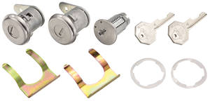 1959-65 Cadillac Lock Set: Ignition & Door - Short Cylinders (Octagon Head Keys - Flat Pawls Included)