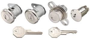 1959-60 Cadillac Lock Set; Ignition, Door & Trunk - Short Cylinders (W/Flat Pawls) (Octagon Head Keys)