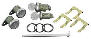 1961-1963 Cadillac Lock Set; Ignition, Door & Trunk - Short Cylinders (W/Flat Pawls) (Octagon Head Keys)