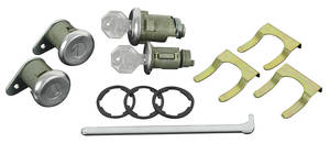 1961-63 Cadillac Lock Set; Ignition, Door & Trunk - Short Cylinders (W/Flat Pawls) (Octagon Head Keys)
