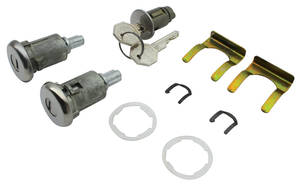 1961-64 Grand Prix Lock Set: Ignition & Door Octagon Keys, Long Cylinder