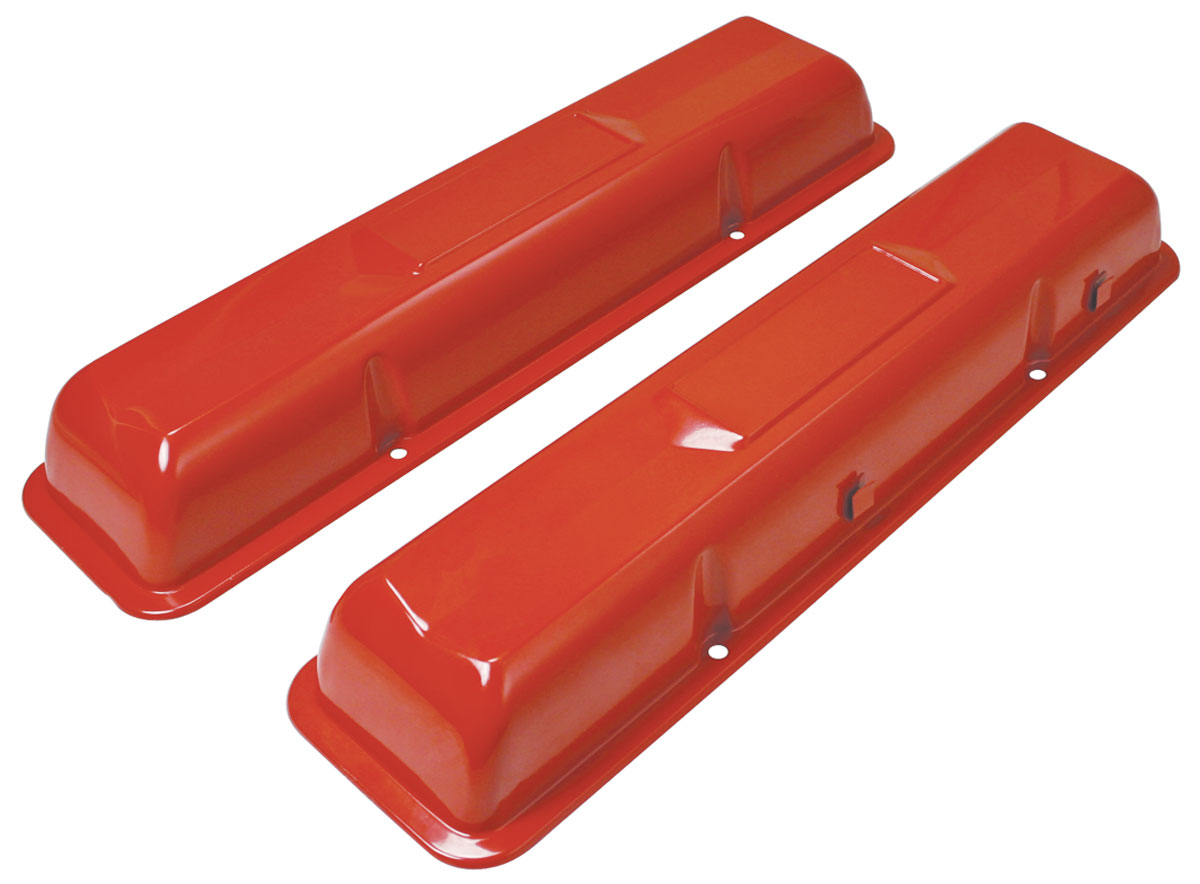 Photo of Valve Covers, Original Sixties-Style (Small-Block) painted orange