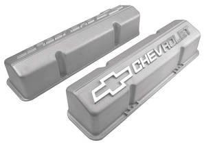 1964-1977 Chevelle Valve Covers, Aluminum Chevrolet Small-Block Cast Gray, w/o Holes, by GM