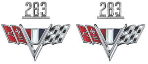 """1965-1967 Chevelle Fender Emblem Kit, 1965-67 """"283"""""""