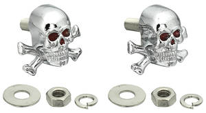 Hot Rod Accessory License Plate Fasteners (Skulls with Crossbones)