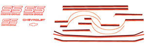 1987-1988 Monte Carlo Body Stripe Kit, 1987-88 Monte Carlo SS Light Red/Medium Red/Dark Red, by Phoenix Graphix