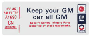"1980 Monte Carlo Air Cleaner Decal, ""Keep Your GM Car All GM"" 305 (RE, #8997050)"