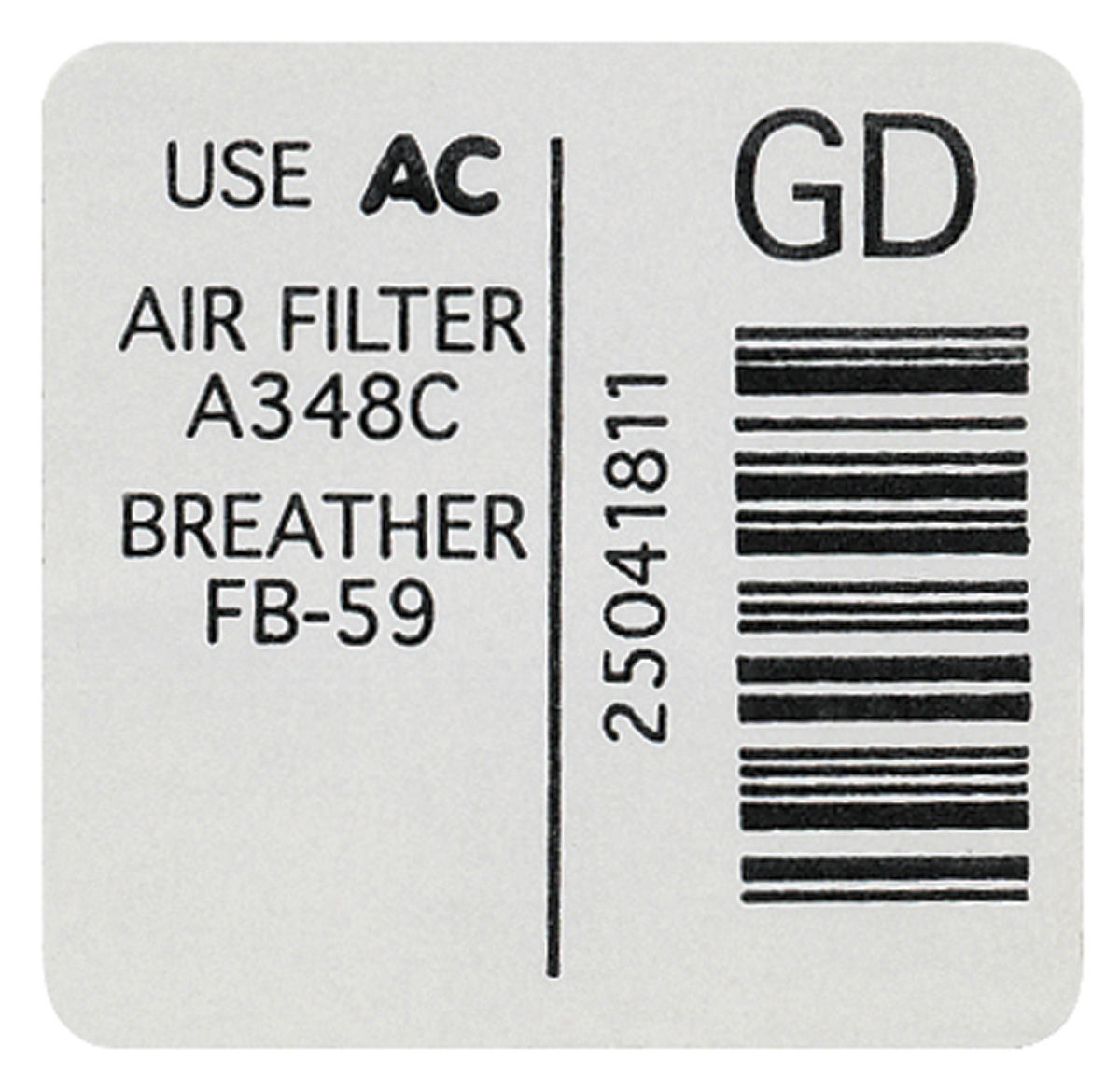 Photo of Air Cleaner Decal (GD, #25041811)