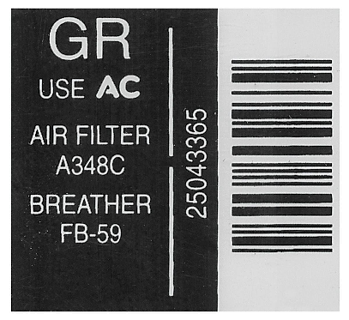 Photo of Air Cleaner Decal service inst. (GR, #25043365)
