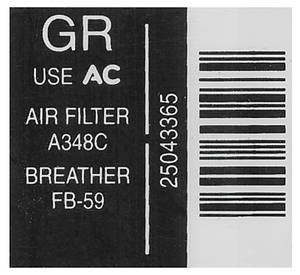 1984 Monte Carlo Air Cleaner Decal Service Inst. (GR, #25043365)
