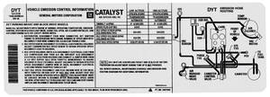 1981 Emissions Decal (Malibu/Monte Carlo) 350-4V AT Emission Hose Routing (AUA, #14031194)