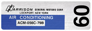 1979 El Camino Air Conditioning Evaporator Box Decal, Harrison ACM-056C-79B