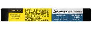 1980-81 El Camino Air Conditioning Evaporator Box Decal, Harrison EBA-070-8081B