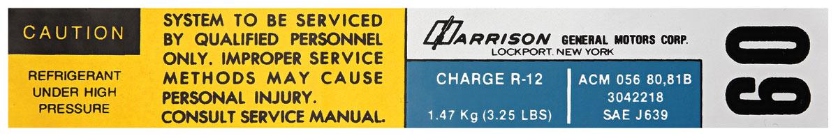 Photo of Air Conditioning Evaporator Box Decal, Harrison ACM-056-8081B