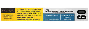 1980-81 El Camino Air Conditioning Evaporator Box Decal, Harrison ACM-056-8081B