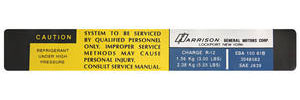 1981-83 El Camino Air Conditioning Evaporator Box Decal, Harrison EBA-150-81B