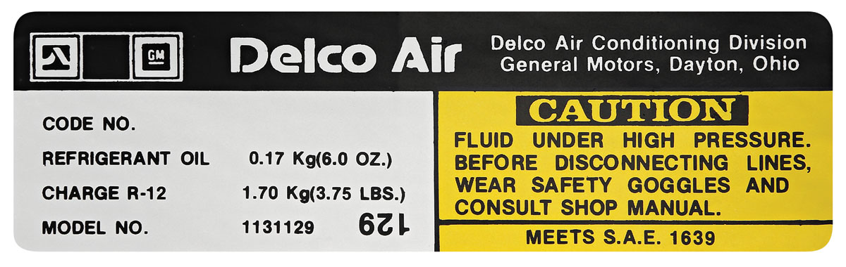 Photo of El Camino Air Conditioning Compressor Decal (#1131142)
