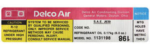 1979 Monte Carlo Air Conditioning Compressor Decal (#1131198)