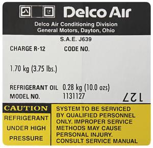 1979 El Camino Air Conditioning Compressor Decal (#1131127)