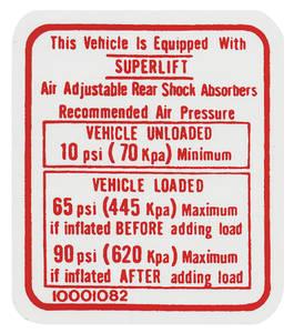 1978 El Camino Air Shock Instruction Decal (#10001082)