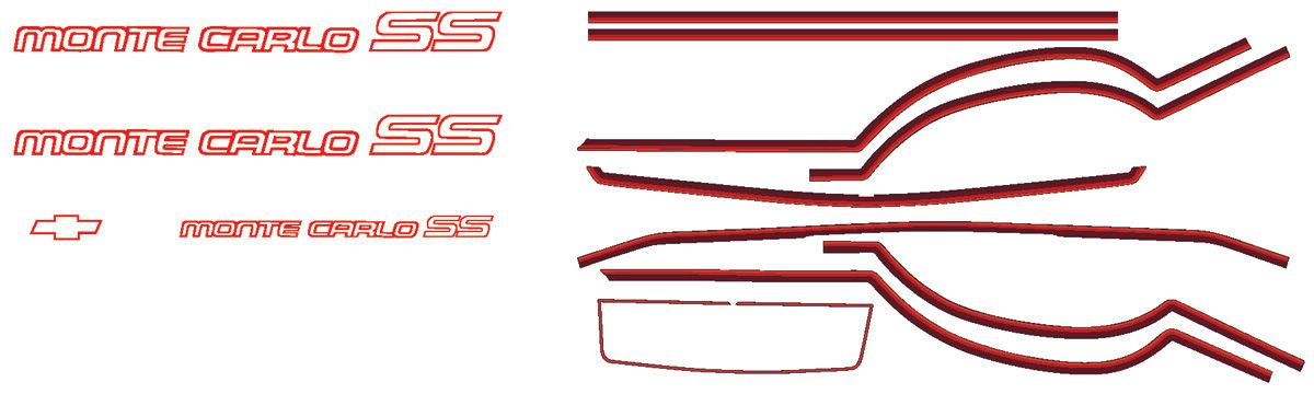 Photo of Body Stripe Kit, 1985-86 Monte Carlo SS silver/red