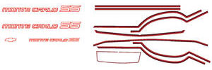 1985-1986 Monte Carlo Body Stripe Kit, 1985-86 Monte Carlo SS Silver/Red, by Phoenix Graphix