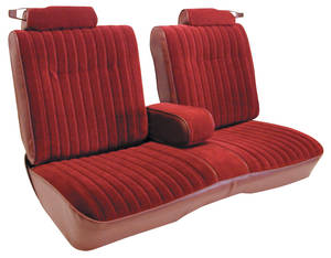 1982-1988 Monte Carlo Seat Upholstery, Notchback Bench Seat with Fold-Down Center Armrest 1982 Malibu, Monte Carlo (Front/Rear) Cloth