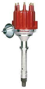 1978-88 Malibu Distributor, Quality Billet W/Vacuum and Male Terminal Red