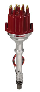 1964-1977 Chevelle Distributor, Quality Billet W/O Vacuum and Male Terminal Red, by PERTRONIX