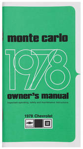 1978 Authentic Owner's Manuals Monte Carlo