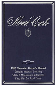 1980 Authentic Owner's Manuals Monte Carlo