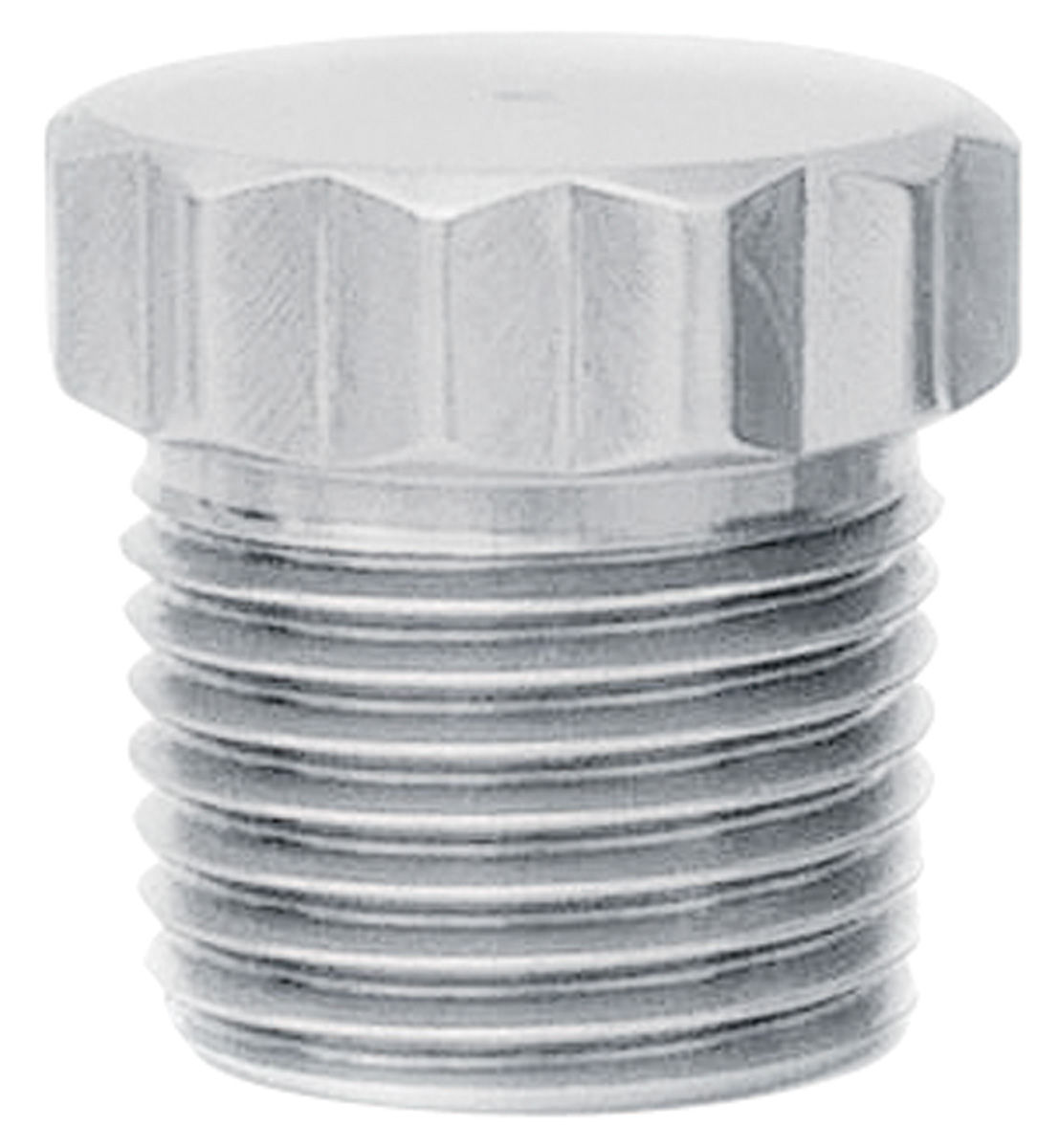 """Photo of Fitting: Stainless Steel Pipe Plug 7/8""""(12-pt) x 7/8""""(long) 1/2"""" NPT"""