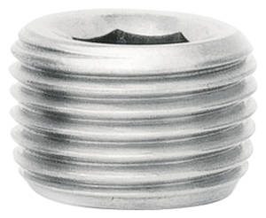 "1959-77 Bonneville Fitting: Stainless Steel Pipe Plug 1/4 Allen, 1/4"" NPT"