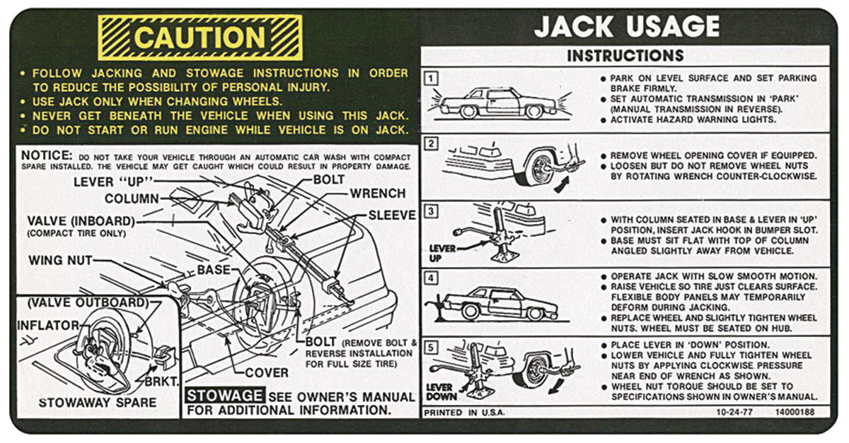 Photo of Jacking Instruction Decal (#14000188)