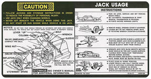 1978 Malibu Jacking Instruction Decal (#14000188)