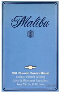 1981-1981 Malibu Authentic Owner's Manuals Malibu