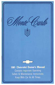 1981-1981 Monte Carlo Authentic Owner's Manuals Monte Carlo