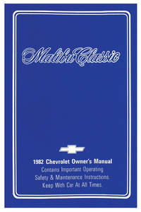 1982 Authentic Owner's Manuals Malibu Classic