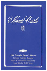 1982-1982 Monte Carlo Authentic Owner's Manuals Monte Carlo