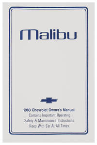 1983-1983 Malibu Authentic Owner's Manuals Malibu Classic