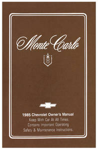 1985 Authentic Owner's Manuals Monte Carlo
