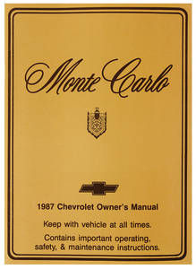 1987 Authentic Owner's Manuals Monte Carlo